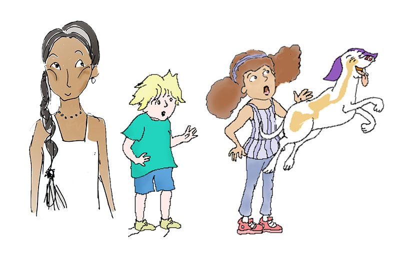 All 4 central characters in their early stages of development